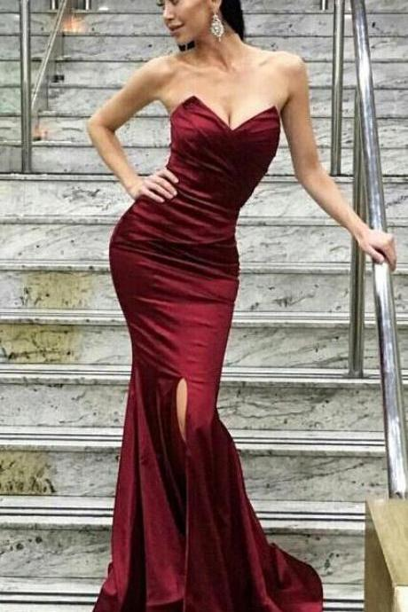Mermaid sweetheart Prom Dress,Burgundy prom dress,long prom dress,side slit backless prom gown, satin evening gowns