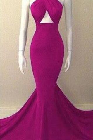 Hot pink prom dress, Cheap Mermaid Prom Dress,Sexy long prom dress,high neck prom gown,spandex prom gowns