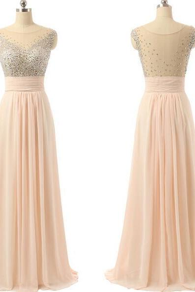 Blush Prom Dress,Sexy Beaded Illusion Prom Dress,Cheap Chiffon Prom Dress,Sexy Open Back Prom Gown,Formal Evening Party Dress