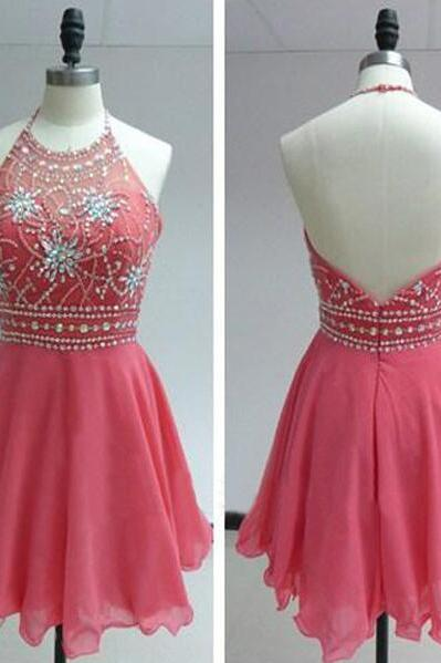 Short Pink Homecoming Dress, Short Halter Prom Dress, Cheap Prom Dress,Short Homecoming Dress, Chiffon Prom Dress Short,Beaded Homecoming Dresses,Mini Chiffon Prom Dresses,Beaded Mini Party Dresses,Short Evening Dresses