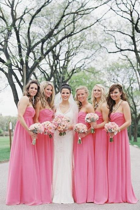 Long Chiffon Bridesmaid Dresses,Cheap Bridesmaid Dresses,Coral Chiffon Evening Dress,Coral Bridesmaid Dress,Long Chiffon Party Dress,Chiffon Long Graduation Dresses