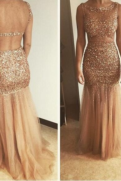 Sexy Beading Prom Dresses, Cheap Mermaid Party Dress, Tulle Prom Dress,Crystal Evening Dresses, Long Formal Dress,Mermaid Cocktail Dress,Mermaid Homecoming Dress,Champagne Party Dresses,Backless Party Dress