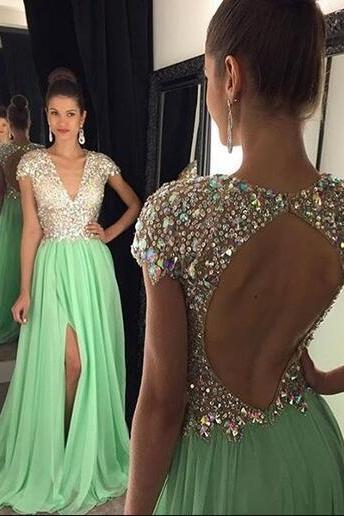 Cap sleeves Prom Dresses,Backless A-line Prom Dress,Cheap Long Prom Dresses,Beaded Prom Dress,Mint Chiffon Prom Dress,Beaded Chiffon Prom Dress,High Slit Prom Dress,Long Chifffon Evening Dress