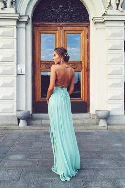 Simple Prom Dresses,CHeap A-line Prom Dresses,Blue Chiffon Prom Dresses,Long Chiffon Prom Dresses,Chiffon Party Dress,V-neck Prom Dresses,Backless Chiffon Party Dresses,Chiffon Homecoming Dresses,Chiffon Graduation Dresses