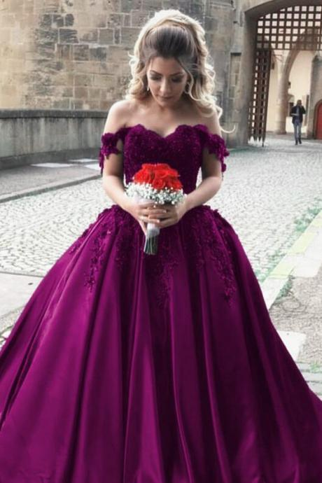 satin Ball Gown wedding dress,off shoulder bride dress,Cheap Lace wedding dress,elgant wedding dress,ball gowns wedding dresses,grape ball gowns