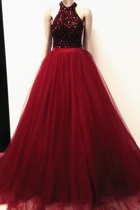 Halter Prom Dress ,Long Tulle Formal Dress,Cheap Prom Dress,Tulle prom Dress,Party dress,Evening Dress Burgundy,Prom Dresses Crystal Beaded