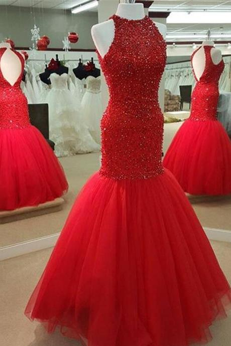 Sexy Red Prom Dress,Cheap Tulle Prom Dress,Beading Mermaid Prom Dresses Beaded Long Open Back Evening Gowns