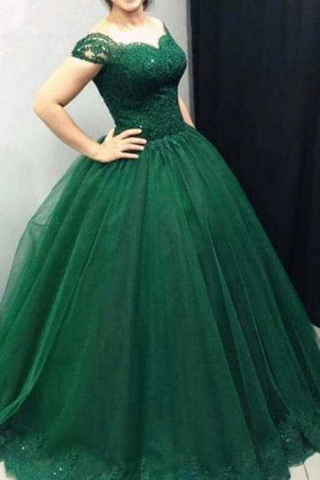 Beauty Emerald Green Prom Dresses ,Ball Gowns Prom Dress,Lace Prom Dress,Tulle Prom Dresses Lace Off Shoulder,Sweet 16 Dress,Ball Gowns Quinceanera Dresses
