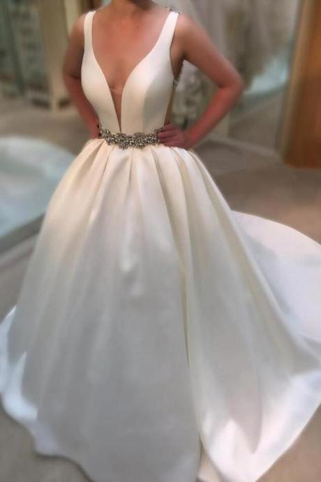 Satin Plunge V Sleeveless Floor Length Wedding Gown Featuring Beaded Belt and Open Back