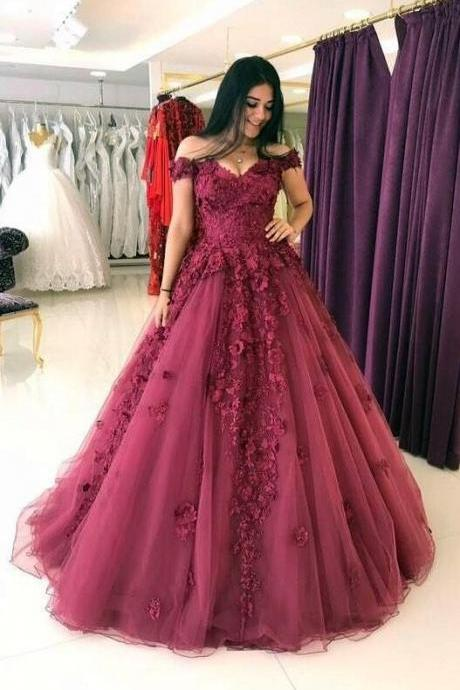 Lace Appliques Prom Dresses ,Ball Gown Prom Dress,lace Prom Dress,Cheap Tulle Quinceanera Dress,Off Shoulder Evening Gowns