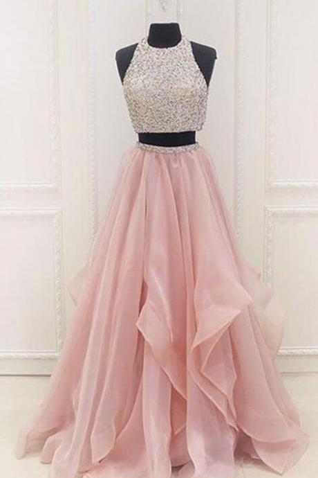 Beading Sexy Prom Dress,Cheap Prom Dress,Tulle Charming Prom Dress,Elegant Prom Dress,Two Pieces Prom Dresses,Long Evening Dress,Formal Dresses