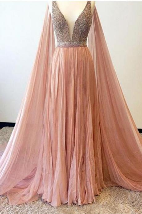 Chiffon Beading Prom Dress,Sexy Prom Dresss,Beaded Prom Dresses,Long Evening Dress,Formal Gown