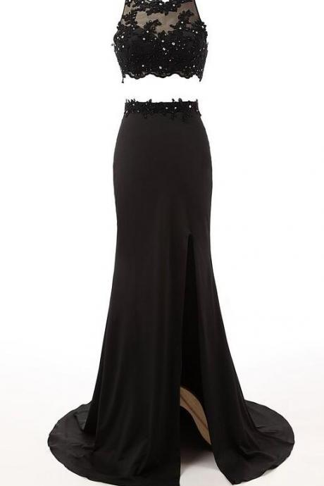 Long Black Prom Dress,Cheap Lace Prom Dress,Two Piece Formal Prom Evening Dresses