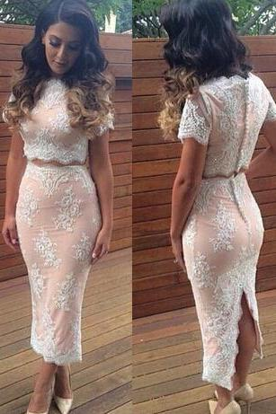 Short Sleeves Prom Dress,lace Prom Dress,Sexy Cocktail Dress,Tea Length 2 Pieces Lace Dress