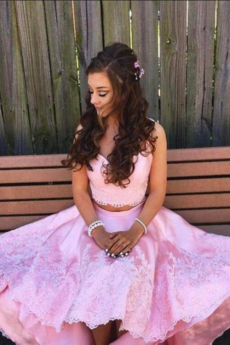 Two pieces lace high low prom dress,Cheap Pink Homecoming Dress,pink evening dress,lace homecoming dresses
