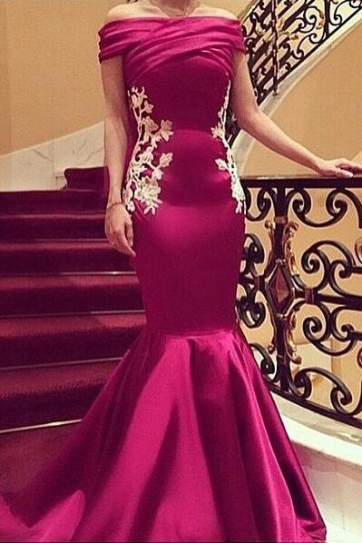 Off-shoulder Mermaid Prom Dress,Stain Evening Dress with Lace Appliques Prom Gown