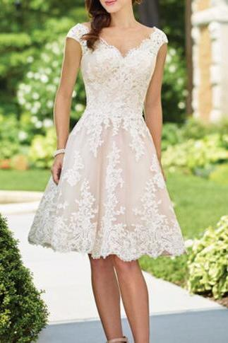 Short Lace Wedding Dress,Vintage Short Wedding Dress with Cap Sleeves