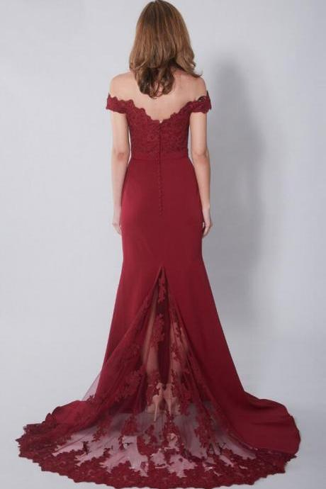 Sexy Lace prom Dress,Off the Shoulder prom Dress,Cheap prom Dress,Mermaid Prom Dress Party Dress
