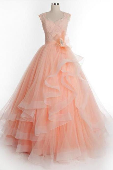 Sexy Tulle prom Dress,Prom Dress Lace,Sexy Prom Dress,Ball Gown Prom Dress