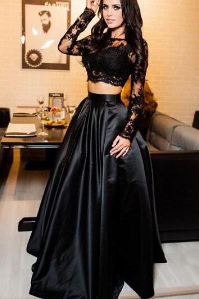 Sexy prom Dress,Black Lace Prom Dress,Long Sleeves Prom Dress,Formal 2 Pieces Prom Dress