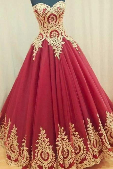 Ball Gown Wedding Dress,Sleeveless Ruby Ball Gown Prom Dress with Gold Appliques
