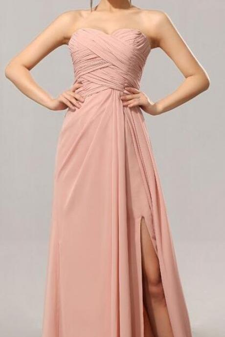 Simple Blush Pink Bridesmaid Dress,Cheap Bridesmaid Dress, Sexy Split Bridesmaid Dress