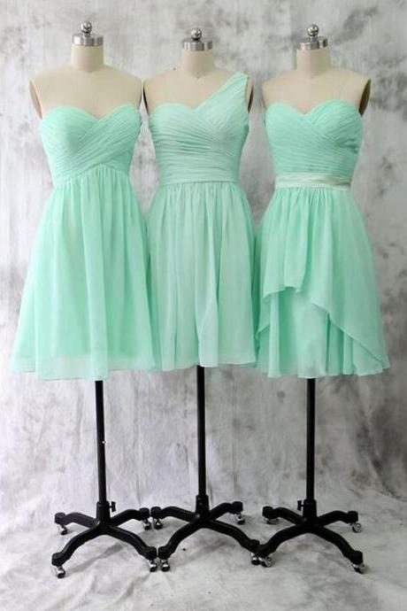 Short Bridesmaid Dress, Cheap Bridesmaid Dress, Knee Length Sweetheart Mint Bridesmaid Dress