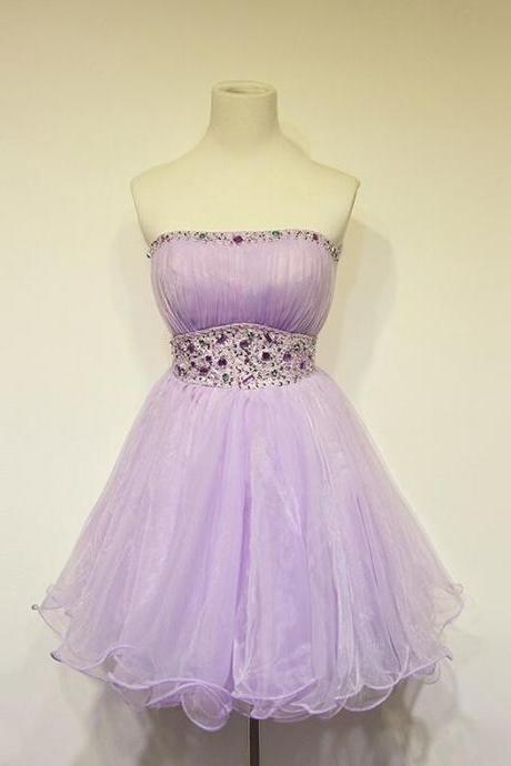 Strapless Prom Dress,Tulle Short Prom Dresses,Cheap Prom Dress, Charming Homecoming Dresses,Homecoming Dresses