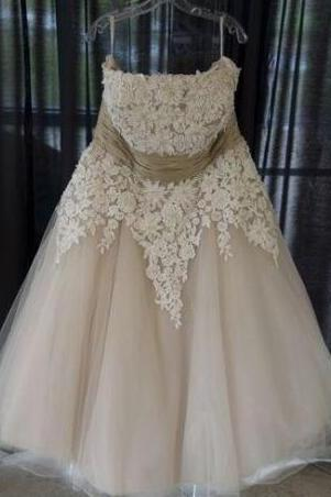 Appliqued Plus Size Short Wedding Dresses,Strapless Lace Wedding Gowns, Floor-Length Open Back Bridal Dress,Tulle Wedding Dress,Wedding Dresses