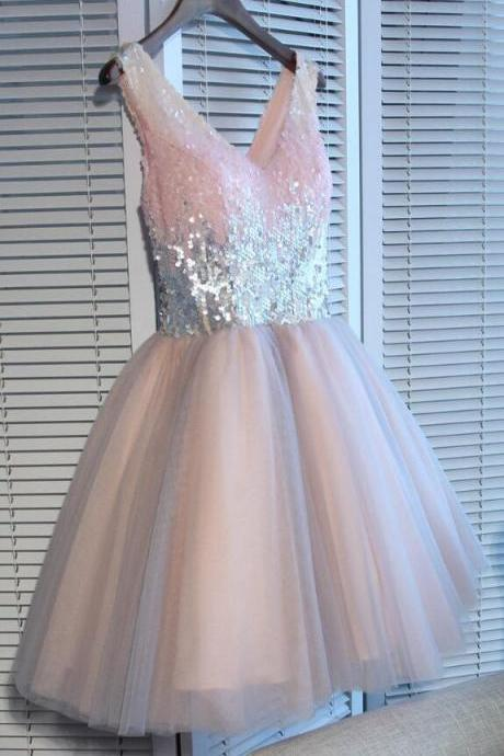 Sexy Homecoming Dresses,A-line Homecoming Dress,2018 Homecoming Dress,Cheap Short Prom Dress,Pink Party Dresses,Tulle Homecoming Dress,Sequined Prom Dress,Homecoming Dress