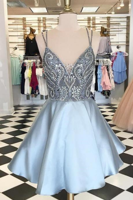 High Neck Straps Short Prom Dress,Silver Beads Homecoming Dress,Cheap Homecoming Dress, V-Neck Short Prom Dresses,A-Line Cocktail Dresses,Sweet 16 Dresses,Homecoming Dress