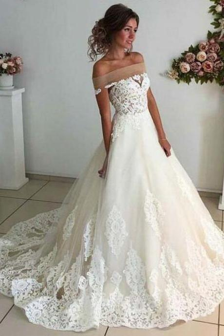 Affordable Lace Unique Wedding Dress,Cheap Wedding Dress, Off the Shoulder Online Charming Long Wedding Dresses,Elegant Tulle Wedding Dresses