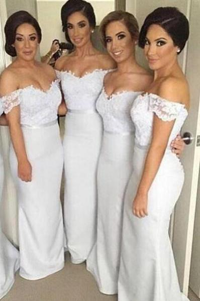 Off Shoulder Long Bridesmaid Dresses,Pretty Lace Bridesmaids Dresses,White Bridesmaid Dresses ,Mermaid Bridesmaid Gowns,Sexy Prom Dresses, girls party dress, White sexy prom Dresses,homecoming dress