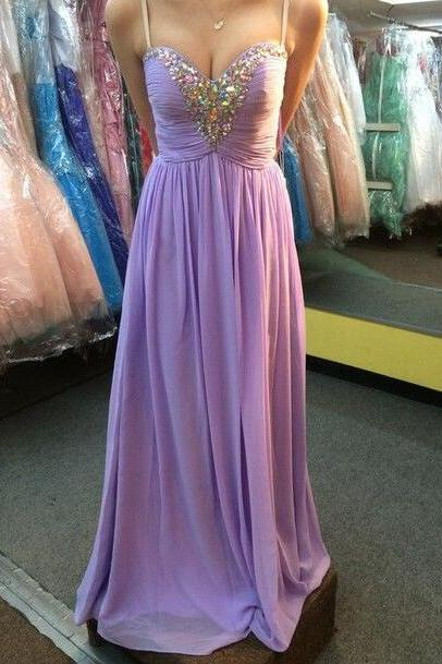 Sweetheart Beadings chiffon Prom Dresses,Lavender Prom Dresses,Beadings Prom Gowns,Evening Gowns ,Homecoming party Gowns,Custom Made Evening Dress,Vestido de Noiva, Wedding Guest Dress