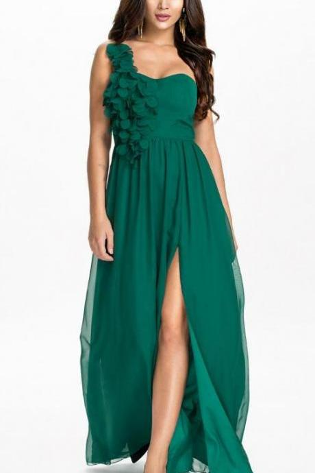 One Shoulder Chiffon Bridesmaid Dress,Long Dress in Green and Black Bridesmaid Dress,Cheap Bridesmaid Dress