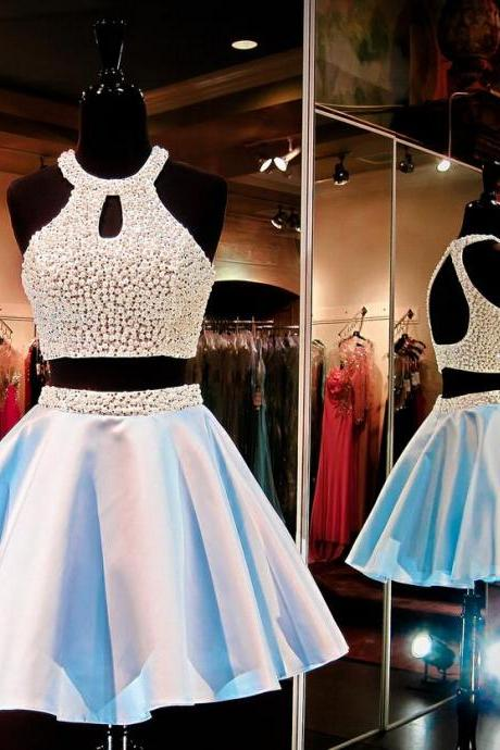 Sexy Homecoming Dress,Cheap Homecoming Dress,Two Piecee Homecoming Dresses,Short Prom Dress,Beaded Prom Gown