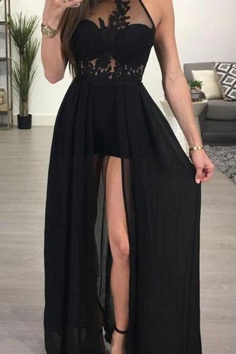 See-through Black Prom Gowns,Simple Prom Dress, A-line Halter Prom Dresses,Chiffon Evening Dresses,Sexy Long Prom Dresses,Prom Dresses
