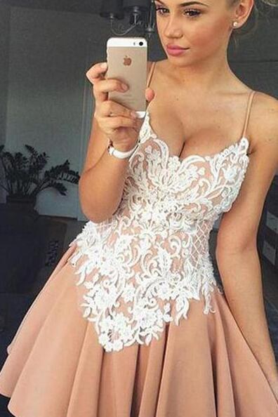 Stain Homecoming Dress,Short Prom Dress,Cheap Lace Graduation Dresses,Top Spaghetti Strap Cocktail Dress,Lovely Short Homecoming Dresses,Backless Sweetheart Homecoming Dress