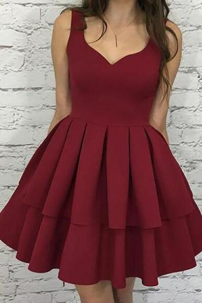 Burgundy Homecoming Dress,Cheap Homecoming Dress,A-Line Scoop Graduation Dress,Short Burgundy Cocktail Dress,Tiered Elastic Satin Homecoming Dress,Open Back Cute Prom Dresses,Homecoming Dress