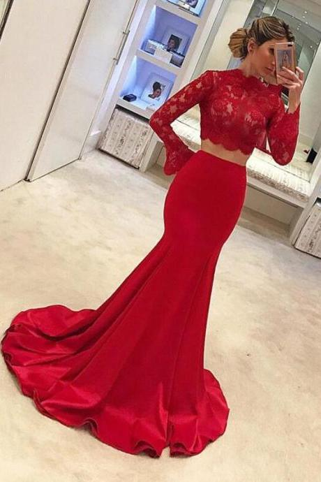 Two Piece Prom Dress,Sexy Cheap Prom Dress,Lovely Red Prom Dresses, Lace Prom Dresses, Charming Prom Evening Dress, Long Sleeves Prom Dresses,Mermaid Evening Gowns,Prom Dresses 2018