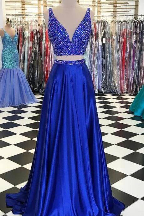 Two Piece Prom Dress,Sexy prom Dress,Crystal Beaded Prom Dresses, V Neck Prom Party Dresses,Satin Prom Gowns,Long Evening Dresses,Slit Prom Dresses, Senior Prom Dresses