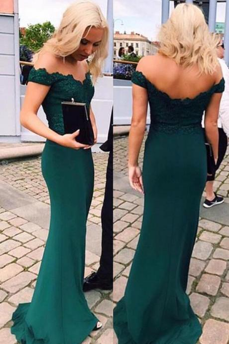 Emerald Green Evening Dress,Cheap prom Dress,Sexy Woman Prom Dresses, Lace Prom Dress, Mermaid Prom Dresses,Lace Off The Shoulder Formal Dress, Prom Dresses Long