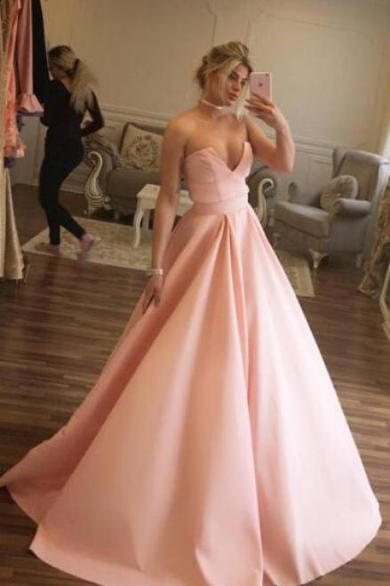 Simple Cheap Prom Dress,Pink Satin Prom/Evening Dress, Ball Gown Prom Dress,Elegant Long Prom Dresses, Satin Prom Dresses, Sexy Sweetheart Prom Gowns, Ball Gown Prom Dresses