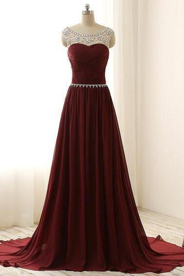 Burgundy Prom Dress Long, Beaded Crystals Prom Dresses,mermaid Party Dress, Red Prom Dresses , Graduation Party Dresses, Formal Dress For Teens, Sexy Sheer Chiffon Long Party Dress