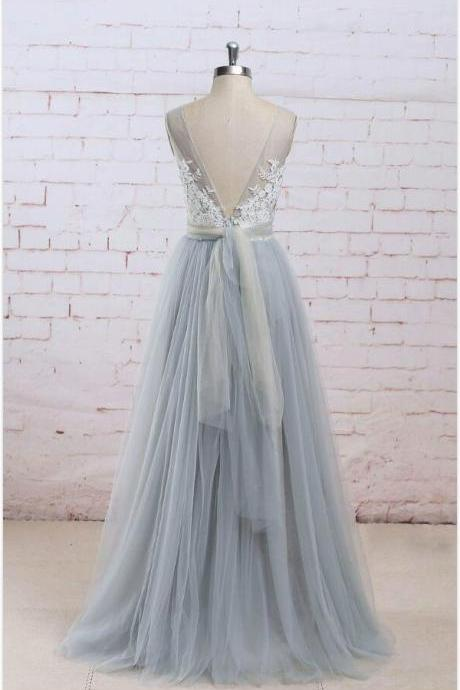 Top Lace V Neckline Prom Dress ,Tulle Prom Dress,Lace Prom Dress, Evening Dresses, Formal Dresses, Graduation Party Dresses