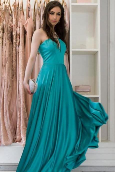 Strapless Prom/Evening Dresses ,Cheap Prom Dress,Green Satin Prom Dresses ,A-line Long Prom Dress,Simple Formal Gowns Sexy Party Pageant Graduation Dresses