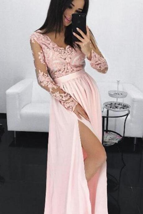 Sexy Long Sleeve Evening Dress,Pink Long Prom Dress, Chiffon Party Dress,Cheap V Neck Prom Dress,Lace Sheer Prom Dress,Prom Dresses with Sleeves,High Slit Prom Dress
