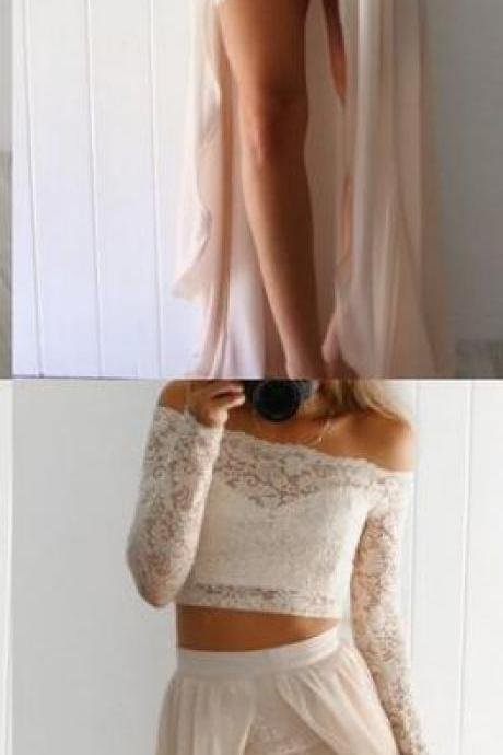 Sexy Lace Prom Dress,Cheap Prom Dress,two piece long prom dresses,long sleeve lace prom dress,off the shoulder party dress,bodycon dress for teens