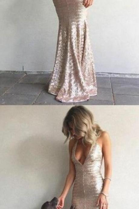 Sequin Prom Dress,Sexy prom dresses 2018, Backless Evening Dress,sparkling mermaid evening dresses, chic fashion party dresses with backless
