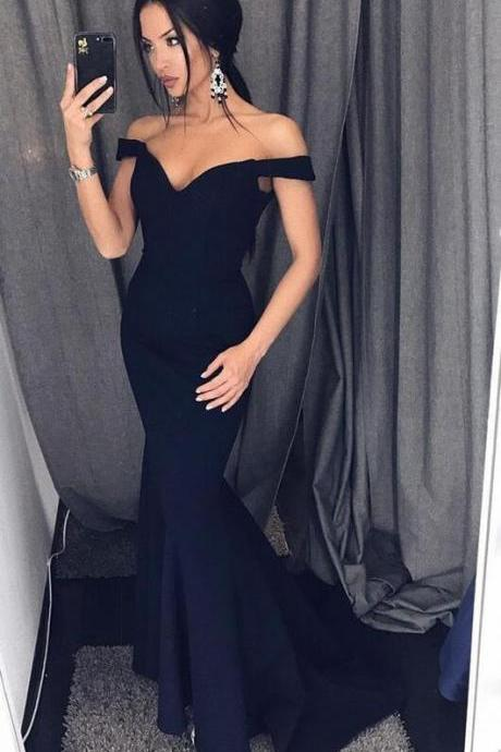 Off-Shoulder Black Prom Dress,Sexy Mermaid Prom Dress,Backless Prom Dres,2018 prom Dress,Satin Long Prom/Evening Dress